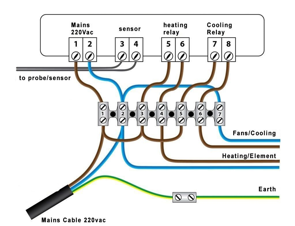 Temperature Controller STC1000 Bridged Wiring Diagram