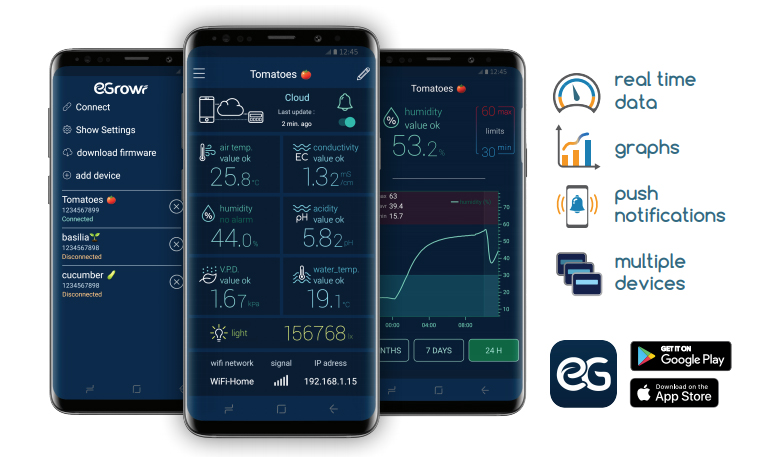 EGrowr Remote Hydroponic Monitoring System App